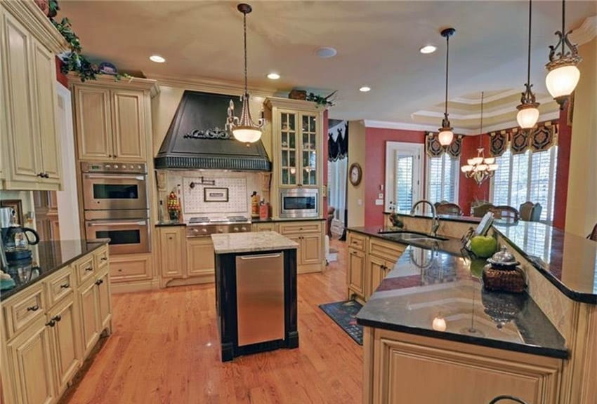 Country kitchen with black antique granite counters