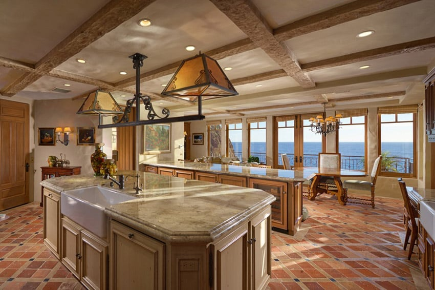 Country kitchen with cappuccino marble counters