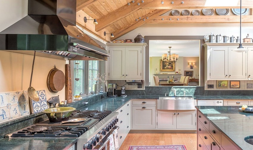 Country kitchen with del mare granite counters