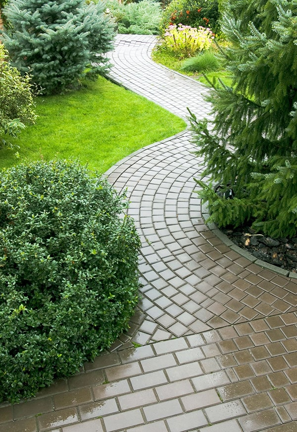 Curved brown ceramic tile pathway leading through garden