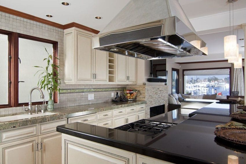 Galley kitchen with absolute black granite counter