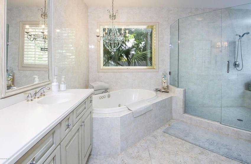 Intricate Chandelier In Bathroom
