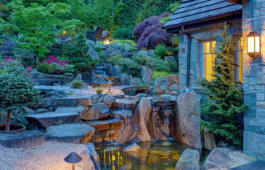 Landscaped garden with gravel and stone path