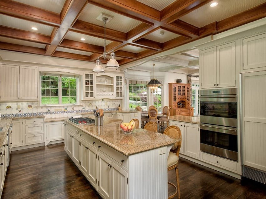 Luxury country kitchen with almond gold granite counters