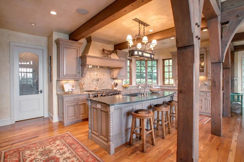 Luxury kitchen with costa esmerelda granite counters