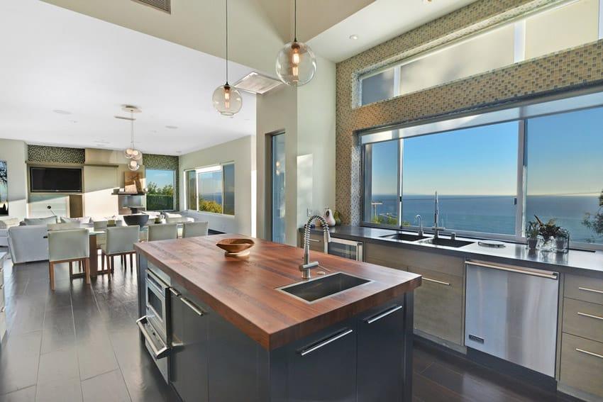 Oceanview kitchen with butcher block island
