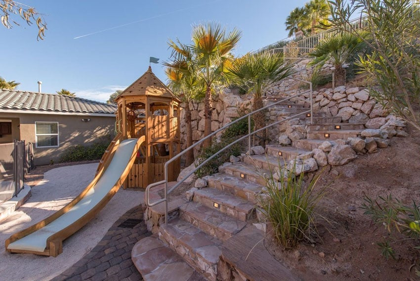 Rough stone stair walkway in backyard
