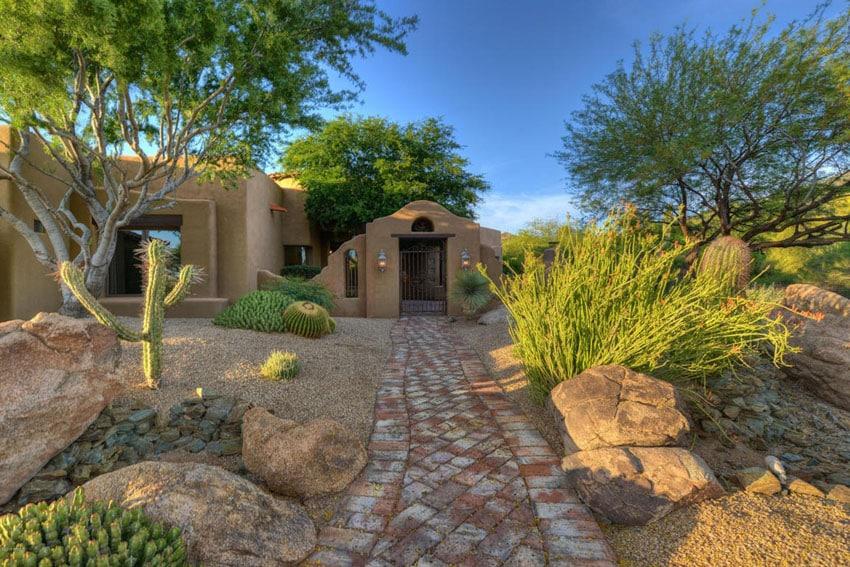 Rustic stone walkway at desert home