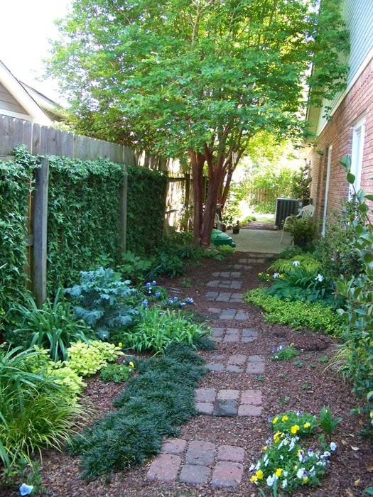 Stone pathway through garden on side of house