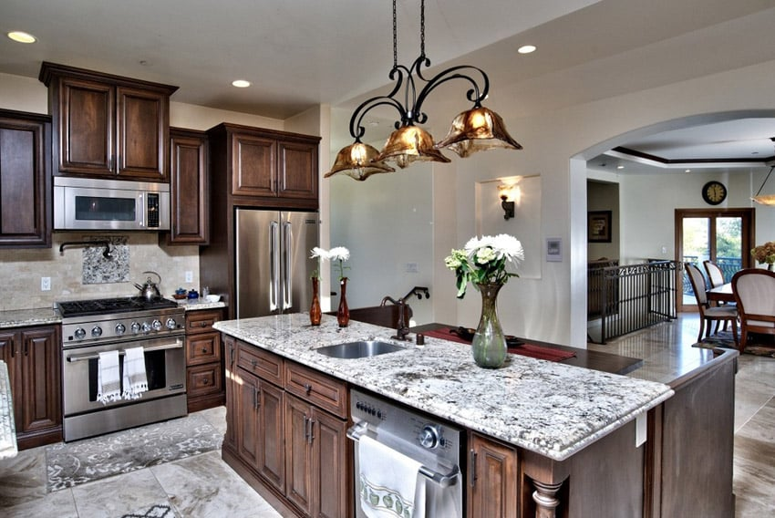 Traditional kitchen with Alaska granite limestone flooring