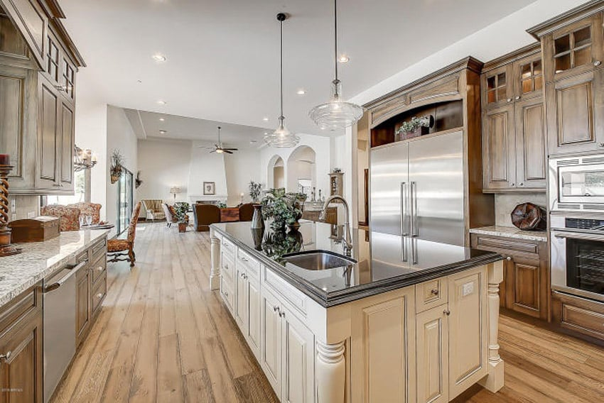Traditional Kitchen With Elegant Features And Two Types Of Countertops
