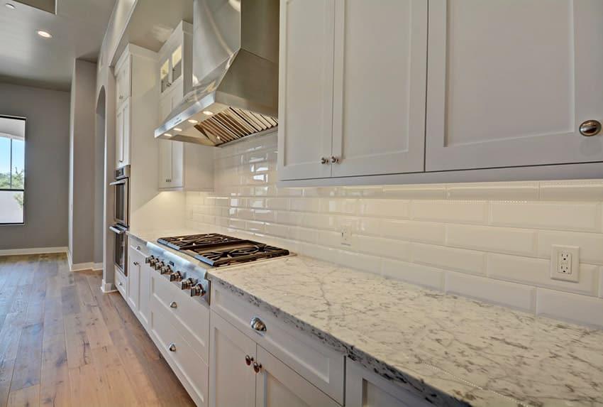 Traditional white granite counter kitchen