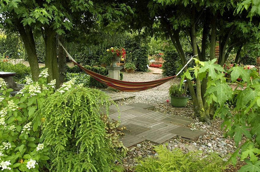 Small wood pattern path leading to hammock
