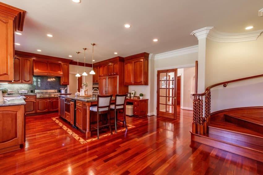 Bright wood kitchen in luxury home