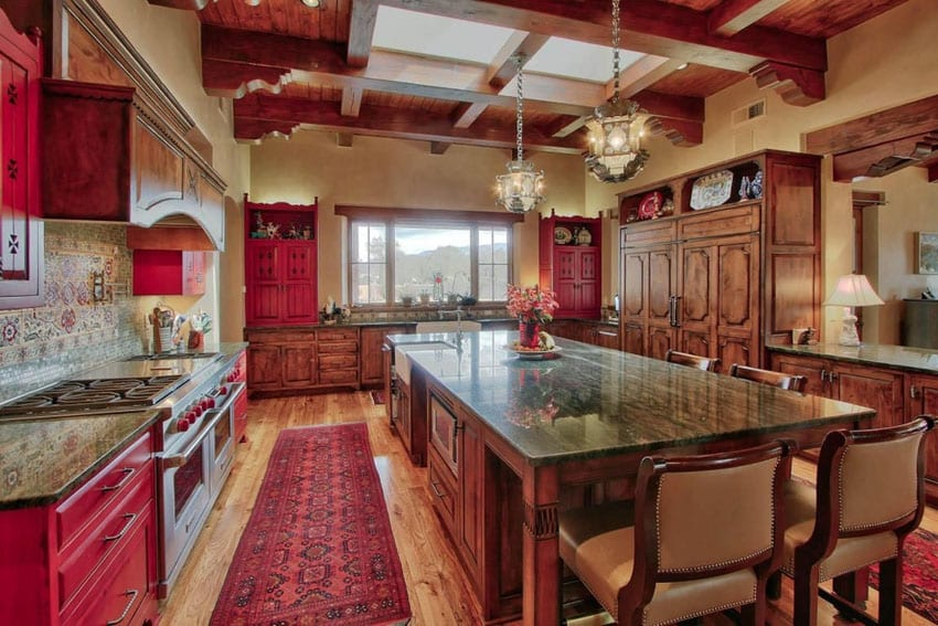 U shaped craftsman kitchen with raised coffered ceiling