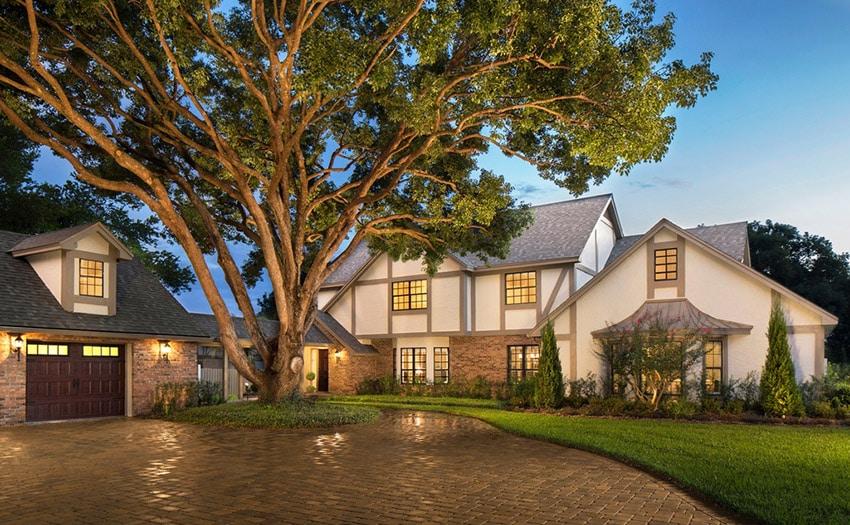 Tudor Style House Front Yard