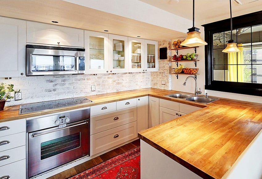 kitchen with thin clay brick backsplash with whitewashed finish