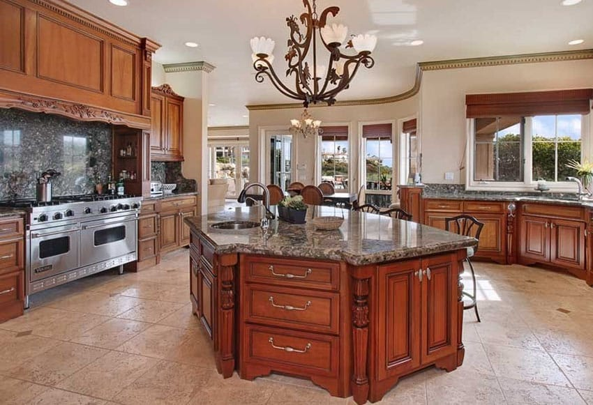 kitchen with granite slab backsplash that contrasts slightly with the