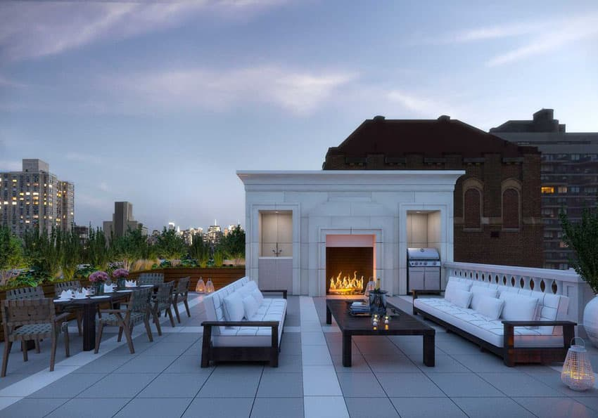 Amazing rooftop patio with open fireplace and city views