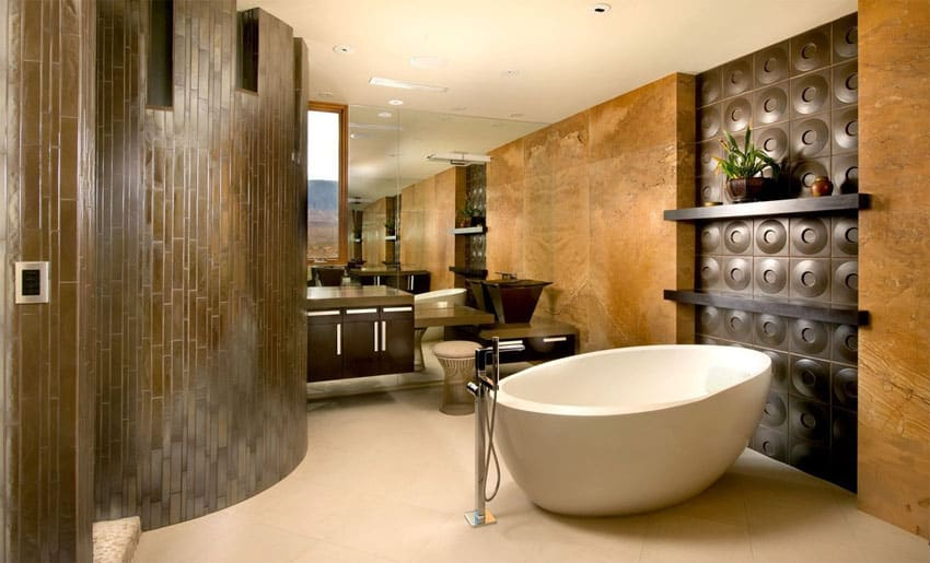 Contemporary bathroom with gel coated bathtub