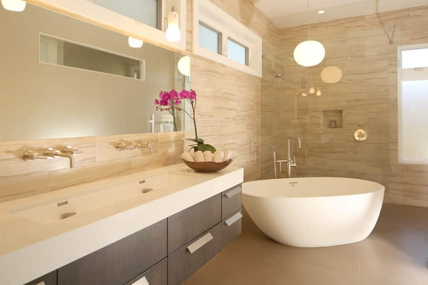 Contemporary master bath with brown themes and soaking tub