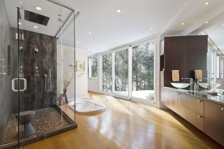 Contemporary master bathroom with sunken bathtub