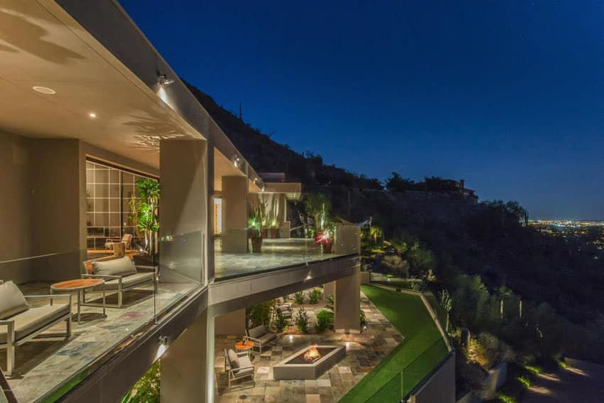 Contemporary patio at luxury house with city views