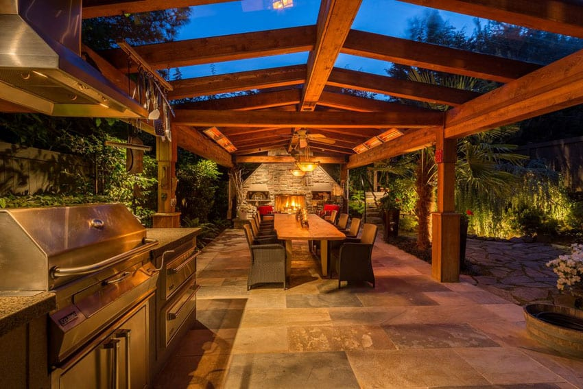 Craftsman Style Covered Patio With Wood And Glass Ceiling