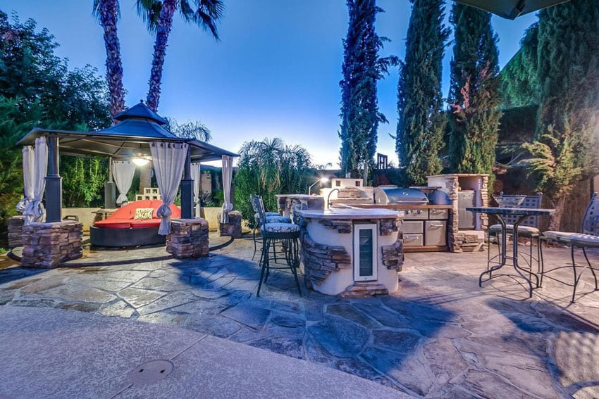 Luxury Patio With Gazebo With Day Bed And Outdoor Kitchen