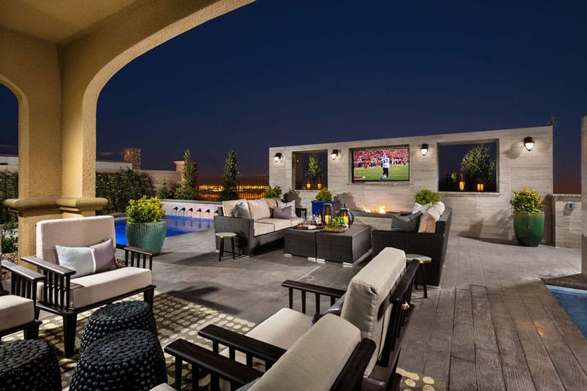 Great Luxury Patio With Outdoor Television Swimming Pool And City Views