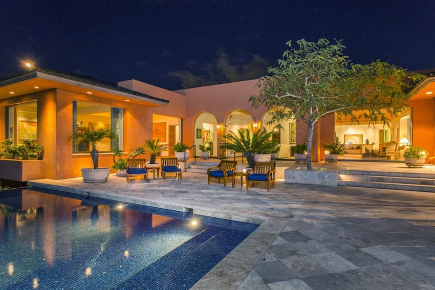 Luxury Patio With Swimming Pool And Tropical Plants