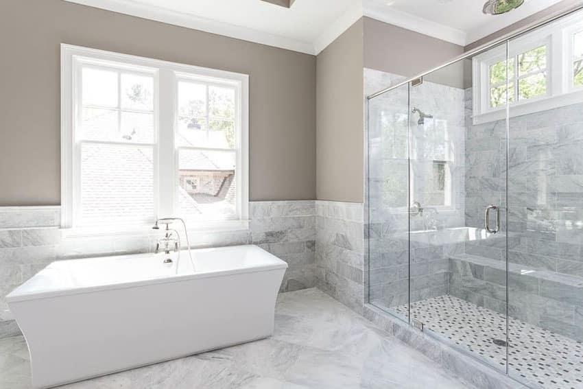 Marble bathroom with acrylic freestanding bathtub