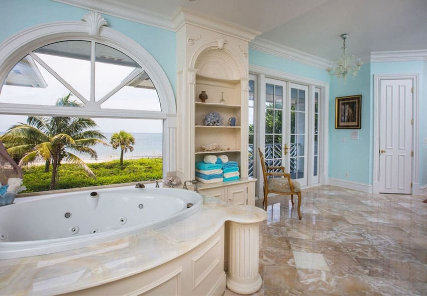 Oceanfront jacuzzi bathtub with amazing water views