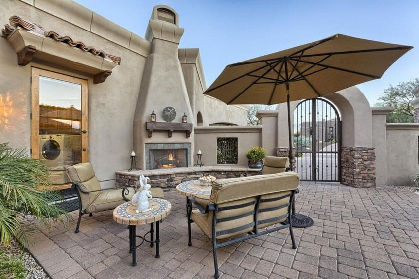 Southwestern Style Patio With Outdoor Fireplace
