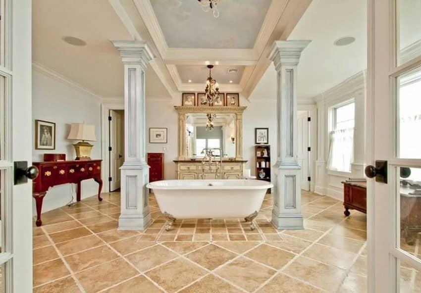Traditional bathroom with acrylic claw foot bathtub