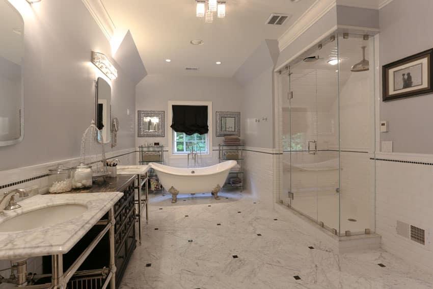 Traditional bathroom with cast iron claw foot bathtub