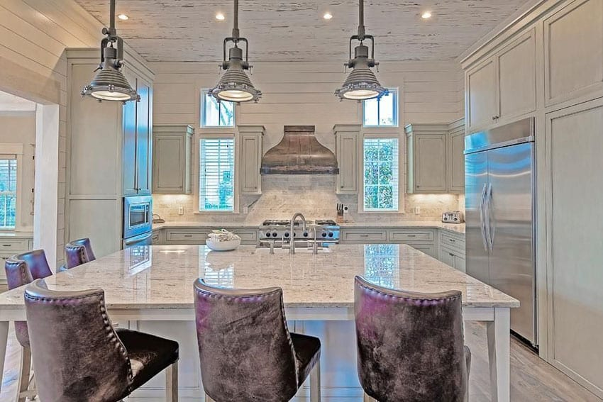 White cabinet kitchen with andromeda white granite countertop