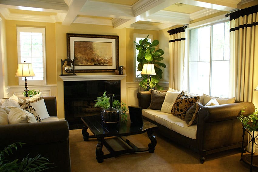 Decorated Formal Yellow Living Room With Coffered Box Ceiling Part 80