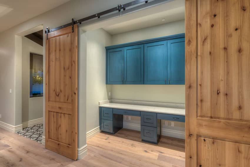 Home office with alder sliding barn doors
