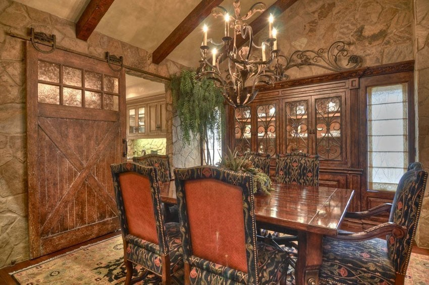 Luxury Dining Room With Sliding Barn Door