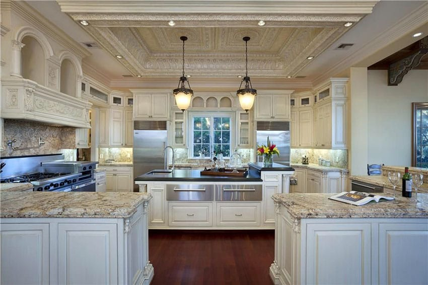 Luxury Traditional Cream Color Cabinet Kitchen With Peninsula And Island Granite Counter