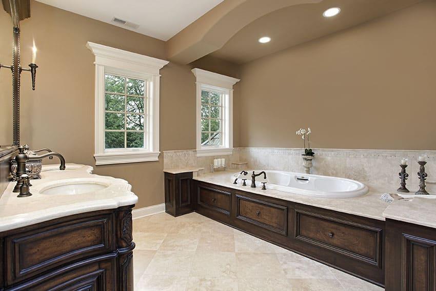 Beautiful master bathroom with custom wood tub surround and vanity