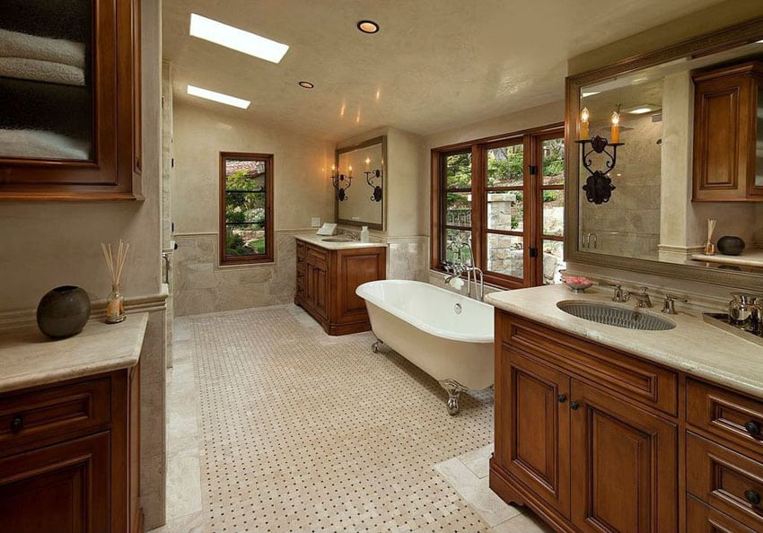 Craftsman master bathroom with cast iron clawfoot tub
