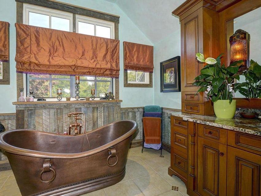 Craftsman style bathroom with custom copper tub
