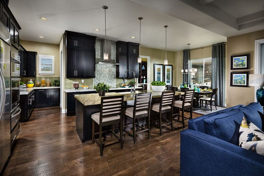Kitchen with black cabinets, hickory wood floors, pendant lights and open layout