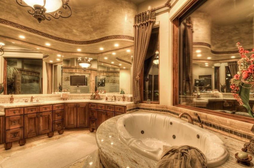 Luxury craftsman master bathroom with flat panel cabinet vanity and enclosed tub
