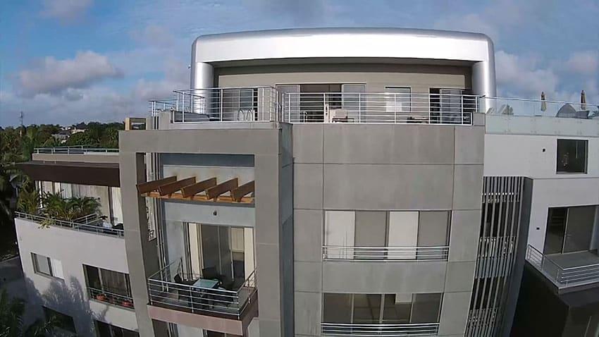 Aerial view of modern custom apartment in Ghana Africa