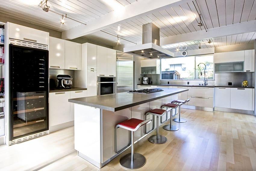 Beautiful modern l shaped kitchen with breakfast bar island and bar stools