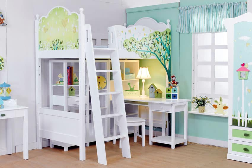 Child's room with white bunk bed