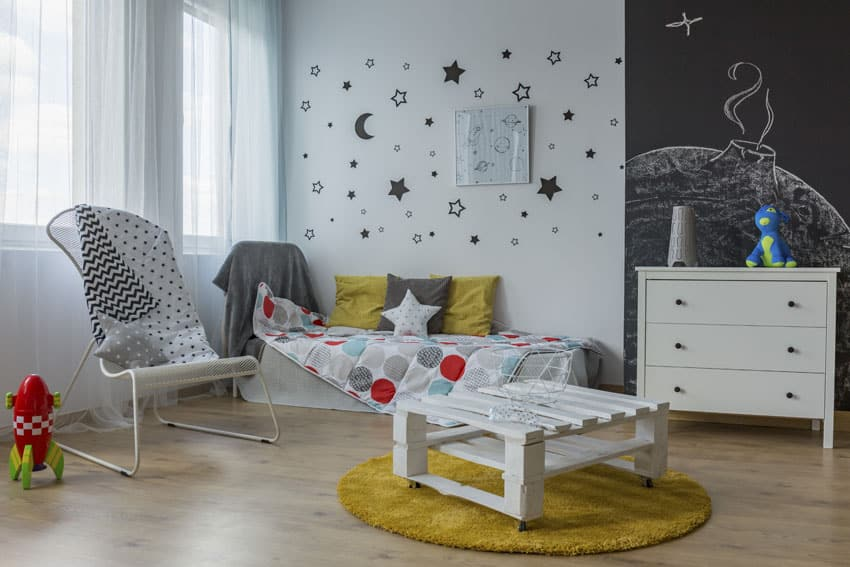 Girls room with blackboard wall and stars decals